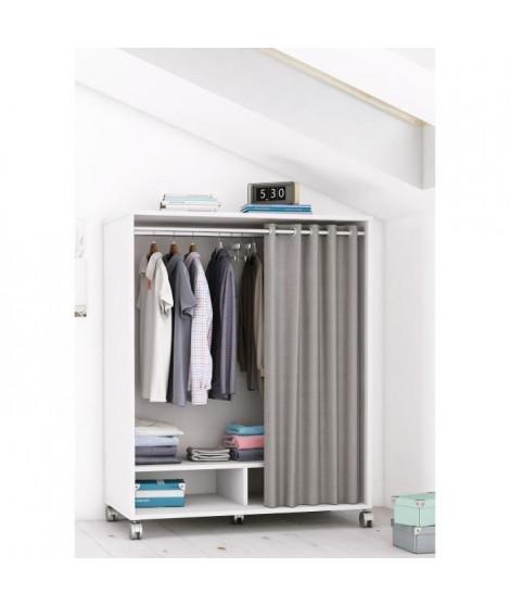 MANA Kit dressing sous comble contemporain blanc perle + rideau en polyester gris foncé - L 101 cm
