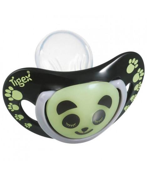 TIGEX 2 Sucettes Smart Night en Silicone Taille 18 Mois+ Panda Phosphorescente (Lot de 3)