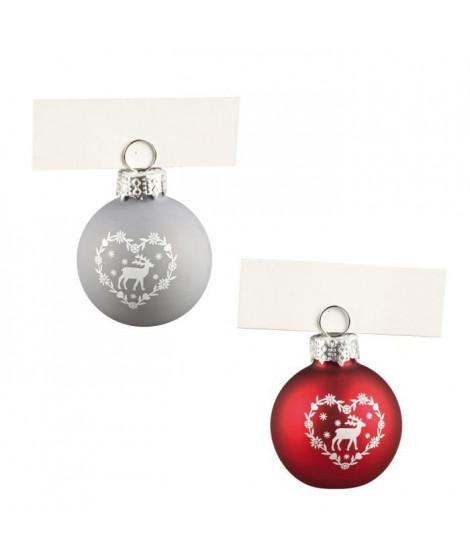 Lot de 4 Boules de Noël porte-nom argenté en verre et métal Ø 4 cm