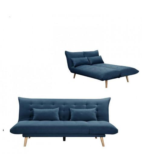 SOLIS Banquette convertible 3 places - Tissu Bleu pétrole -  L 197 x P 94 x H 86 cm