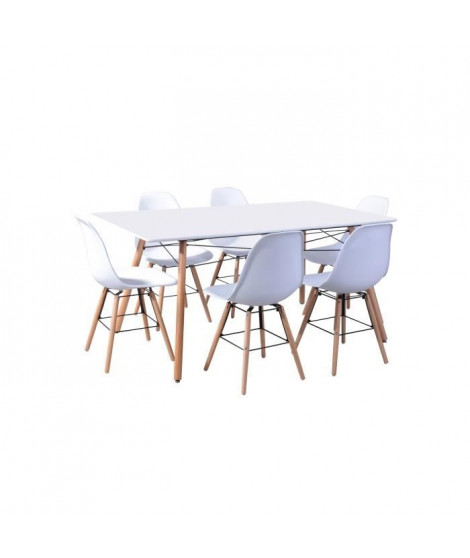LONDON ensemble table a manger de 6 a 8 personnes L160x I90 cm + 6 chaises blanc L 46 x P 44,5