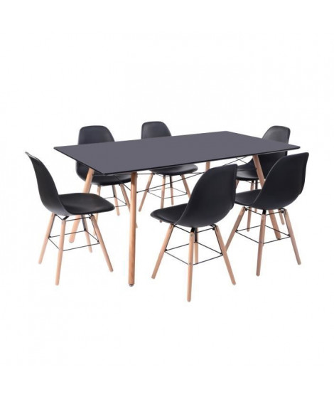 LONDON Ensemble table a manger de 6 a 8 personnes L160x I90 cm + 6 chaises noir L 46 x P 44,5
