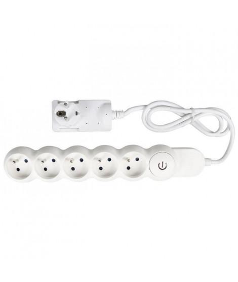 EXPERTLINE Bloc multiprise 5 prises avec interrupteur a pied 16 A câble H05VVF 3x1 mm² (Lot de 2)