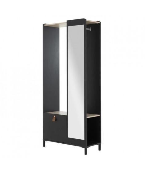 AMSTERDAM Meuble d'entrée - Décor chataigner et noir -  L  85 x P 36  x H 189 x cm