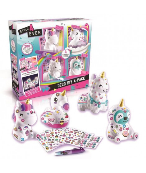 CANAL TOYS - STYLE 4 EVER - Déco DIY - Pack 4 animaux a décorer