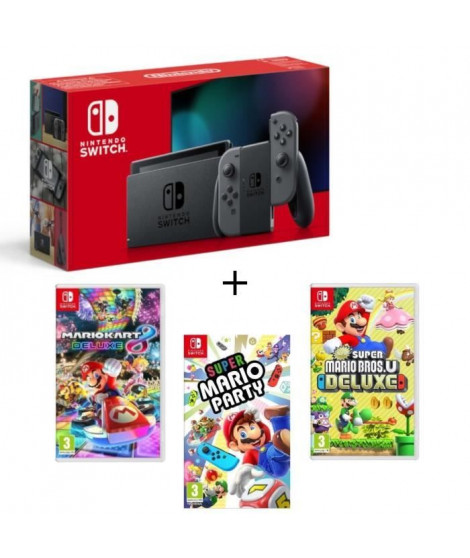 Pack Nintendo Switch Grise + New Sup.Mario BrosU Deluxe + Sup.Mario Party + Mario Kart8 Deluxe
