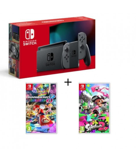 Pack Nintendo Switch Grise + Splatoon 2 + Mario Kart 8 Deluxe