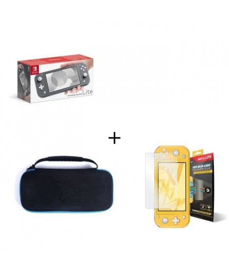 Nintendo Switch Lite Grise + Housse Switch Lite +  Verre Anti-Lumiere bleue Switch Lite