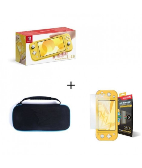 Nintendo Switch Lite Jaune + Housse Switch Lite +  Verre Anti-Lumiere bleue Switch Lite