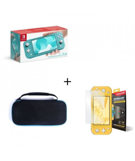 Nintendo Switch Lite Turquoise + Housse Switch Lite +  Verre Anti-Lumiere bleue Switch Lite