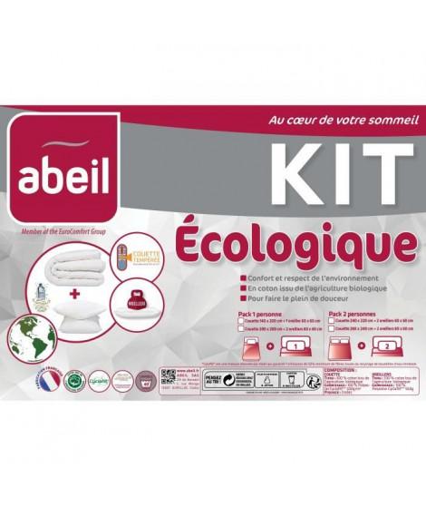 ABEIL Pack écologique coton BIO - 1 Couette 200x200 cm + 1 Oreiller 60x60 cm - Coton Bio