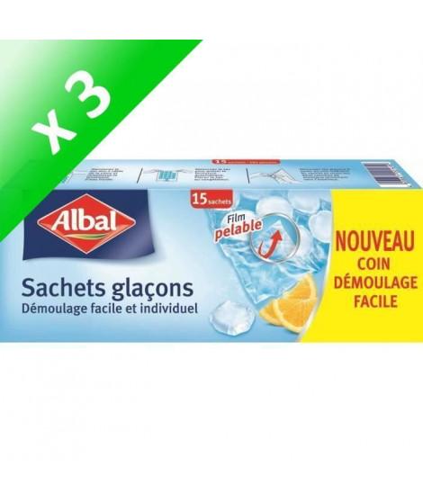ALBAL Boîte de 15 sachets Glaçons (Lot de 3)