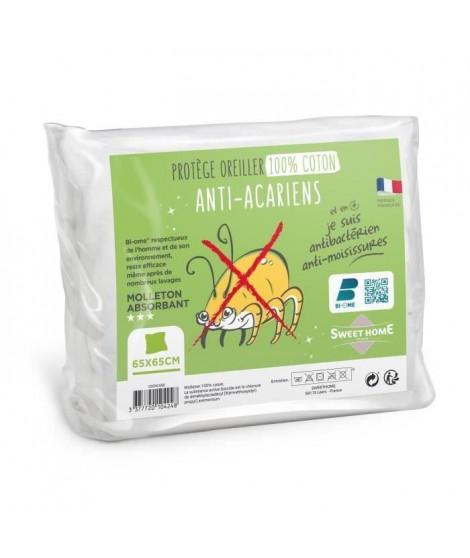 SWEETHOME Protege-oreiller 100% coton - Anti-acariens - 65x65 cm - Lot de 4 exemplaires