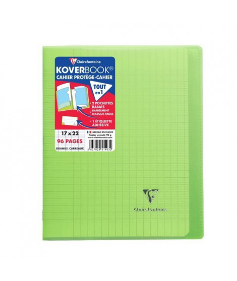 CLAIREFONTAINE Cahier Kover Book piqure avec rabats 170 x 220 - 96 Pages - 90 g - Vert