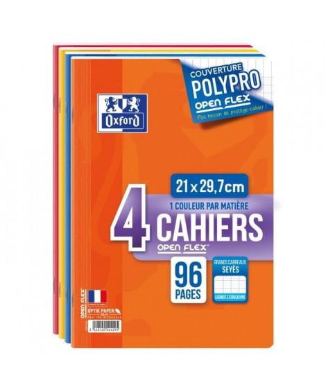 OXFORD Lot de 4 Cahiers openflex - A4 - 21x29,7cm - 96p