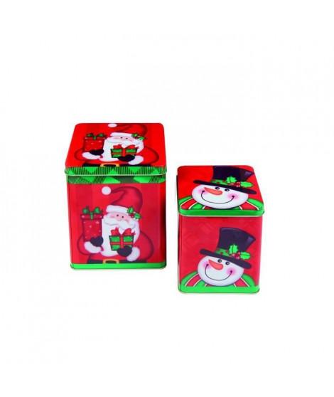 CHRISTMAS DREAM Lot de 2 boites carrées 14,5+18 cm Pere Noël et Bonhomme de neige