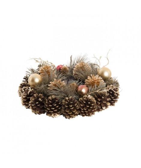 Couronne ananas en fibre naturelle 30cm Doré