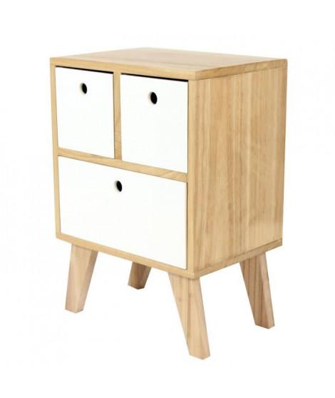 KEIKO Chevet scandinave en bois pin mélaminé blanc - L 35 cm
