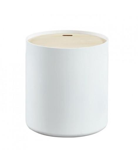 PoeTIC Table d'appoint ronde style contemporain blanc laqué mat avec plateau placage Paulownia - Ø 38 cm