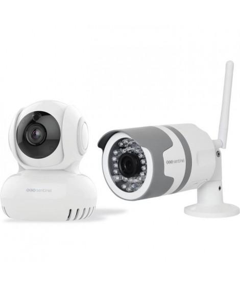 SCS SENTINEL Lot de 1 caméra intérieure motorisée WifiEye HD Rotative + 1 caméra extérieure WifiEye HD Outdoor