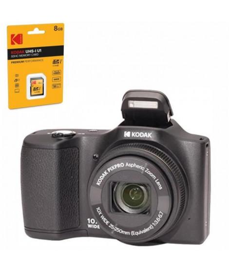KODAK FZ101-bk Appareil photo numérique 16 Mégapixels Noir + KODAK EKMSD8GHC10K Carte mémoire SDHC 8GB classe 10 U1 Premium