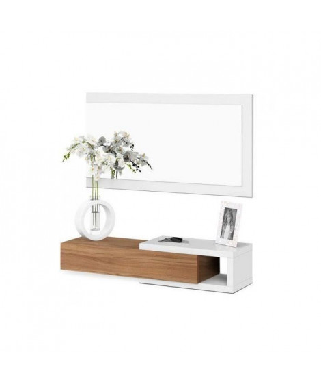 NOON Meuble d'entrée avec Miroir + 1 Tiroir - Décor noyer et Blanc - L 95 x P 19 x H 26 cm