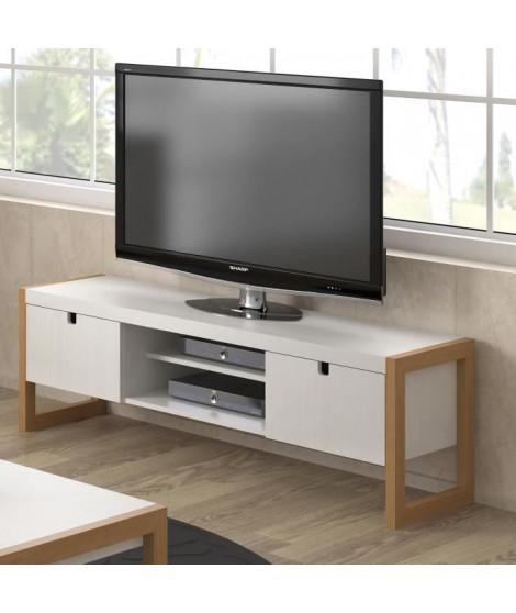 KARE Meuble TV 2 portes - Décor chene et blanc - L 140 x P 38 x H 45 cm