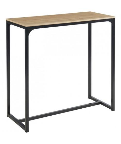 ARCHE Table haute - Style industriel en MDF et métal - Décor chene et noir - L 115 x P 50 x H 110 cm