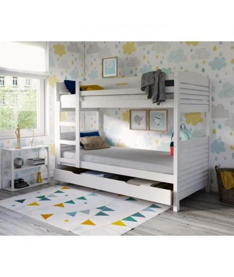 WOOPI Lit superposé enfant mixte + tiroir en bois massif - Blanc - l 98 x L 198 cm