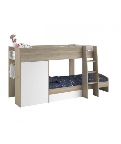 MIST Lit superposé enfant sommiers inclus + rangements - Blanc et chene brut - l 122 x L 280 cm