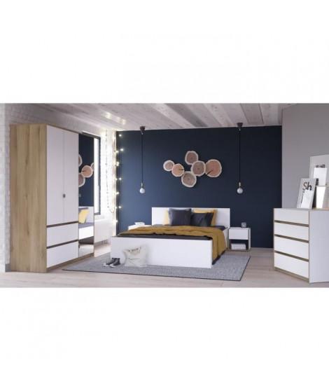 TITAN Ensemble Lit 140x190/200 cm + tiroir de lit + 2 chevets - Décor chene et blanc