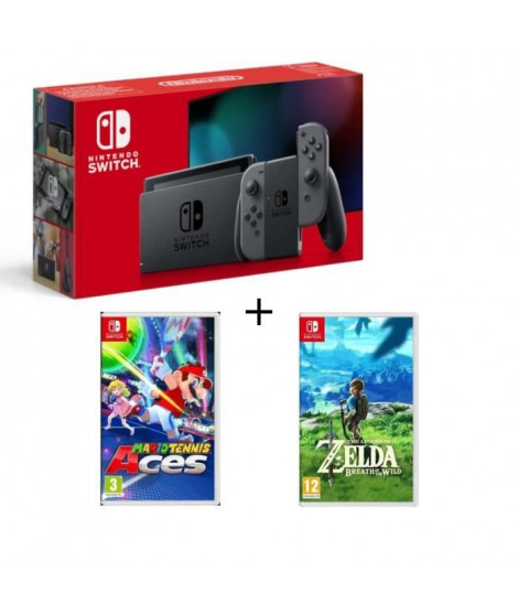 Pack Nintendo Switch Grise Edition + The Legend of Zelda : Breath of the Wild + Mario Tennis Aces