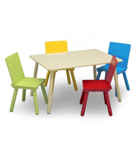 DELTA KIDS Table enfant rectancgulaire beige + 4 chaises bois multicolor