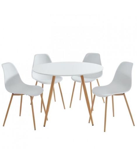 MALMO Ensemble table a manger ronde Ø 100 cm + 4 chaises - Style scandinave - Blanc