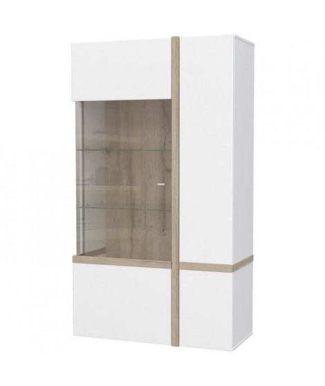 BIANKO Vitrine style contemporain blanc et décor chene - L 93,2 cm