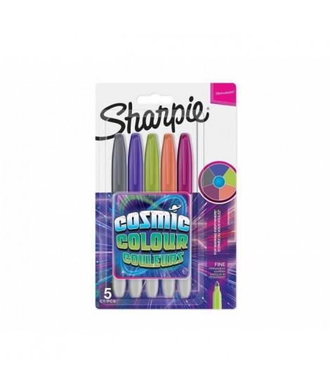 SHARPIE Lot de 5 marqueurs permanents - Pointe fine - Edition limitée - Cosmic couleurs (Lot de 3)