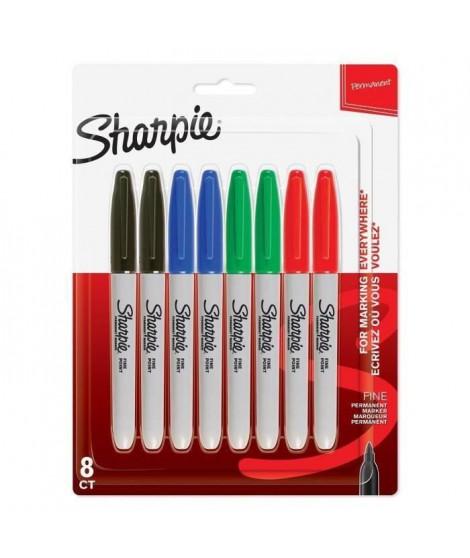 SHARPIE Lot de8 marqueurs permanents - Pointe fine - Couleurs standard assorties (Lot de 2)