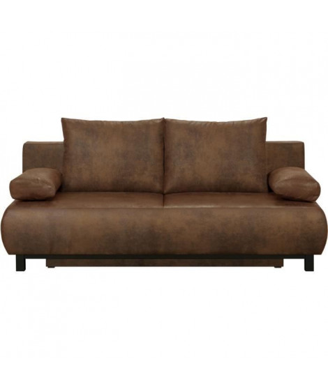 SHILO Banquette 3 places convertible + coffre de rangement - Tissu Cognac vieilli - L 192 x H 84 x P 93 cm