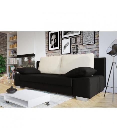 LAURA Banquette convertible - Tissu noir et blanc