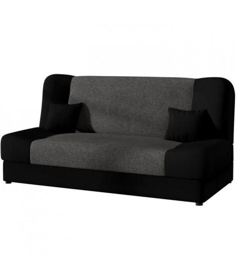 LEA Banquette convertible - Tissu noir et anthracite