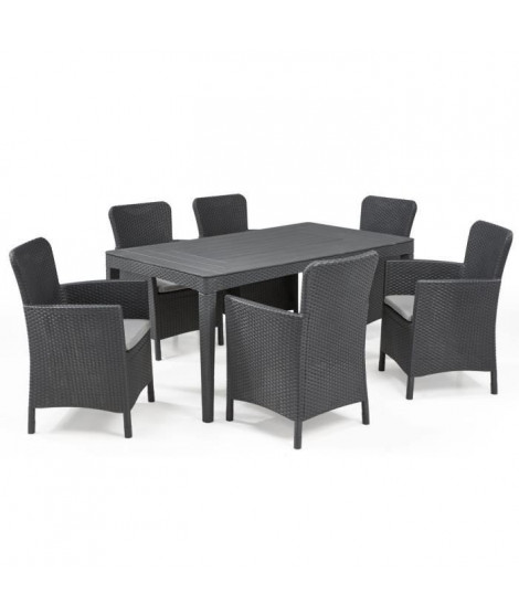 ALLIBERT JARDIN Table 6 personnes Girona Wucker Rond Graphite
