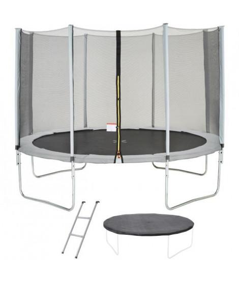Trampoline MAXI ECO Ø 360 cm Gris - Filet, Echelle, Couverture de Protection
