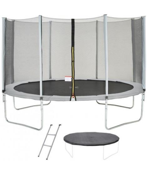 Trampoline MAXI ECO Ø 430 cm Gris - Avec Filet, Echelle, Couverture de Protection