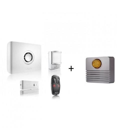 SOMFY Systeme d'alarme sans fil PROTEXIOM Start GSM + Sirene extérieure flash