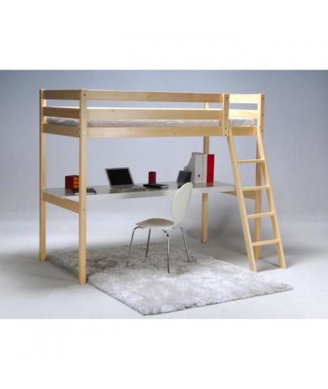 ASHTON Lit mezzanine enfant contemporain en bois épicéa massif verni + sommier - l 90 x L 190 cm