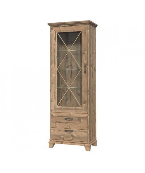 NEPAL Vitrine 1 porte vitrée - Pieds en bois - 75,6 x 209,2 x 45 cm