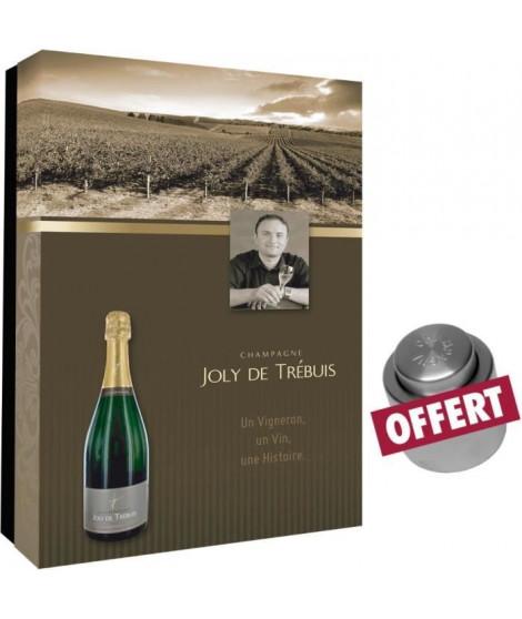 Coffret vide Joly de Trebuis pour 2 bouteilles et bouchon champagne