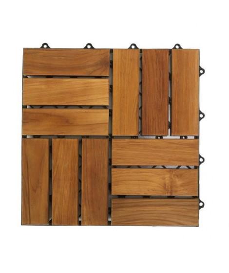 Lot de 10 dalles carrées en bois avec fixation - 30 x 30 cm