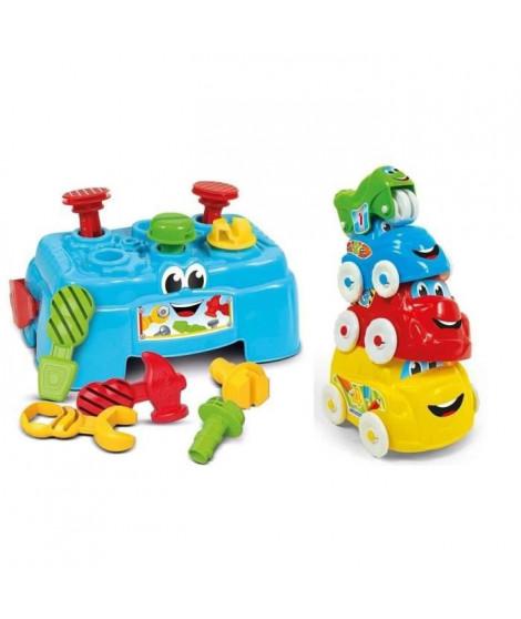 CLEMENTONI Baby - Pack Atelier de bricolage + Véhicules d'acitivités