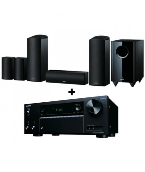 ONKYO TX-NR575E Amplificateur Tuner - Noir + ONKYO SKS -HT588 - Systeme d'enceintes Home Cinéma 5.1.2 - 650 Watts